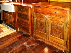 Custom made kitchen cabinets with French farm sink
