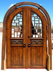 Double doors with carved surround