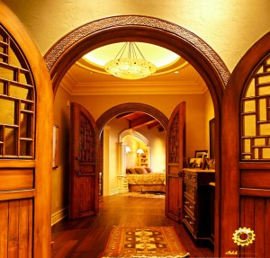 Custom interior double doors with carved surround