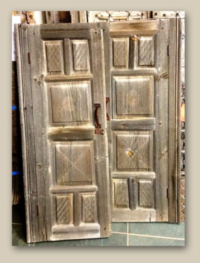10509-01 Antique Cabinet Doors with Carved Panels